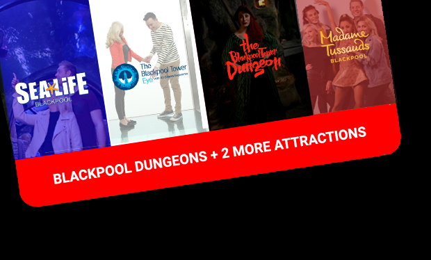 Blackpool dungeons + 2 more attractions ticket